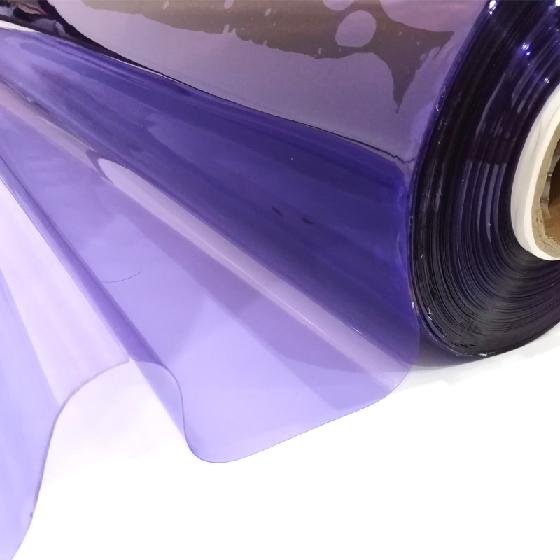 Transparent Purple Color Plastic PVC Crystal Film For Bag