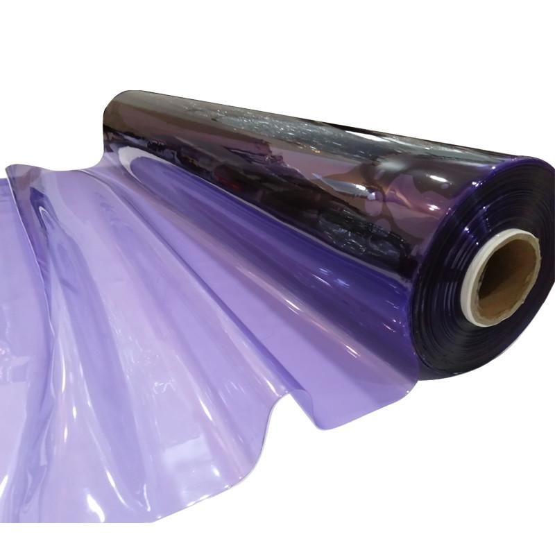 Transparent Purple Color Plastic PVC Crystal Film For Bag