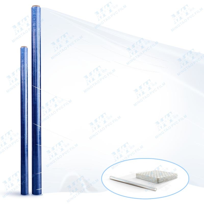 Hot blue transparent pvc shrink film packing mattress and furniture